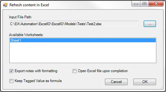 The fllwing dialg bx will be presented: Excel Extensins User Guide 1 2 3 User actins: 1. Set a path t the Excel file t be refreshed. The file will be pened in read-write mde. 2. Click the wrksheet/s t be refreshed.