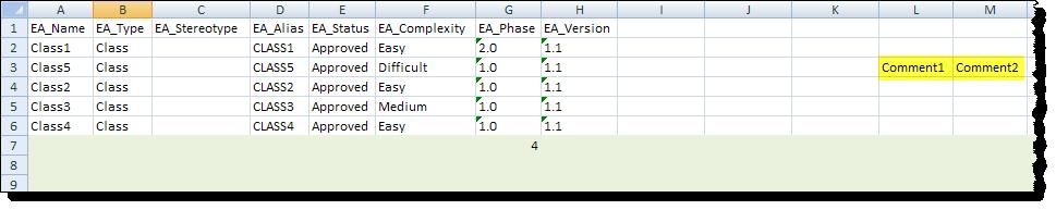 Sample exprt data using Template 2: Nte hw: The marker rws are updated with exprted data, but the cell values f clumns nt related t EA are preserved (highlighted in