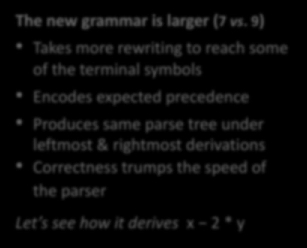 9) Takes more rewriting to reach some of the terminal symbols Encodes expected precedence Produces same parse tree under leftmost & rightmost derivations Correctness trumps the speed of