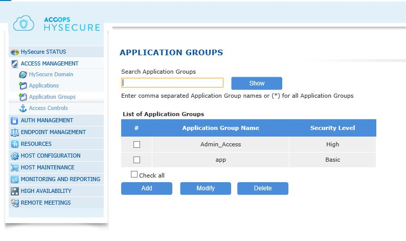 CREATE AN APPLICATION Under ACCESS MANAGEMENT section, go to Application page to create an application.