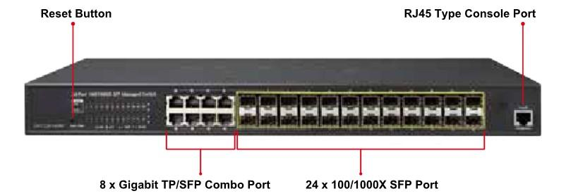 L2+ 24-Port 100/1000X SFP + 8-Port Shared TP Managed Switch Multi Port / Flexible Dual-speed Fiber Optic Connectivity for Long-reach Distance Solution This Layer 2+ Managed Core Fiber Switches,