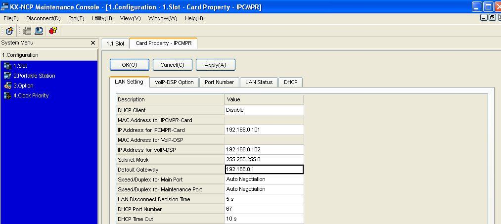 G t 1-Cnfiguratin, 1-Slt, mve yur muse ver the MPR card and select the card prperty Make sure that the default