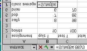 Using the SUM function Typing =SUM(B4:B6)/3 will add cells B4 through B6 and then divide it by 3.