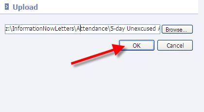 Click OK. The Uplad letter screen will return. Click Cancel. Click OK t save the changes t the letter.