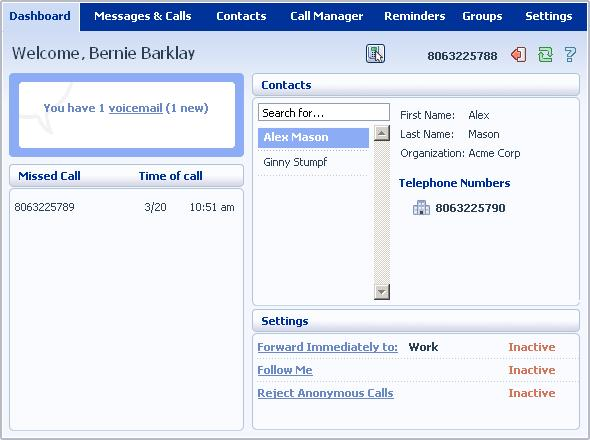 2 CommPortal Dashboard The CommPortal Dashboard is shown when you log into CommPortal and gives you an at-a-glance summary of your phone line.