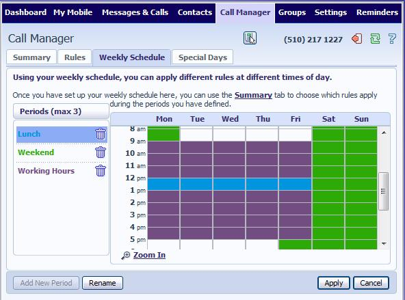 6.3 Schedule Based Routing The Weekly Schedule functionality of Incoming Call Manager allows you to apply different routing rules based on time of day and day of week.