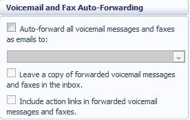 Voice and Fax Forwarding This section lets you enter an email address to which all your voice and fax messages should be sent when they are left in your mailbox: To set up forwarding of your messages