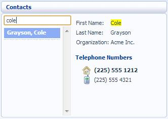 Figure 9: Search Contacts 3.3.1 Calling a contact To call a contact using Click To Dial, follow these steps: 1.
