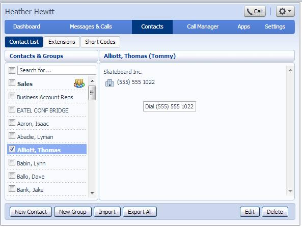 5.1.3 Editing a contact To edit a contact, follow these steps: 1. Select the contact you wish to edit from the list on the left hand side of the screen. 2. Click Edit. 3. Modify or add any details. 4.
