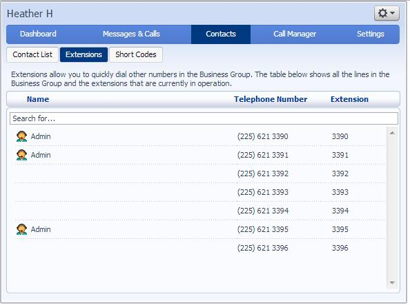 Figure 31: Contacts Extensions tab Your company s designated administrator sets up these extensions. 5.