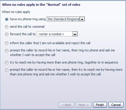 Figure 35: Incoming Call Manager Rules tab In order to define a new rule for Normal calls, select the click on the Normal call rule and click the Add New Rule button.