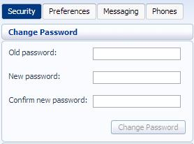 Figure 47: Security Change Password To change your CommPortal password, follow these steps: 1. Enter your old password in the Old Password text box. 2.