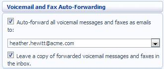 Figure 64: Voicemail and Fax Auto-Forwarding Settings To set up forwarding of your messages to your email, follow these steps: 1.