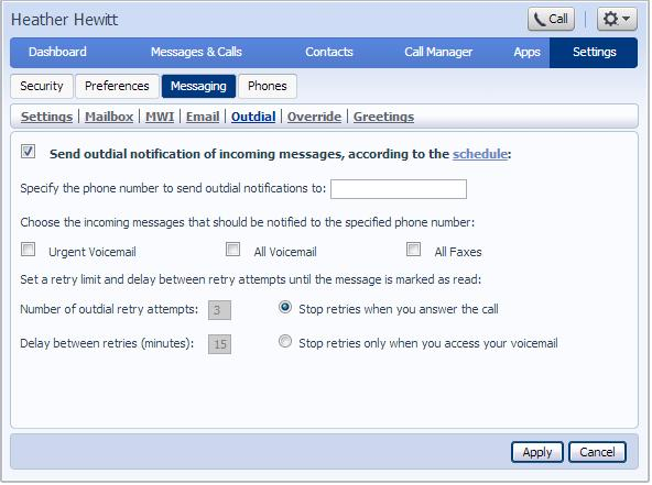 9.5.5 Outdial Outdial allows you to send outdial notification of incoming messages according to schedule settings