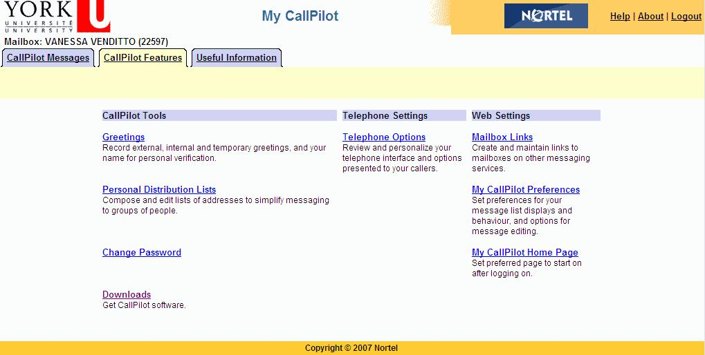 CallPilot Features Tab Click the CallPilot Features tab to change the settings for your CallPilot features and telephone options,