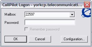 3 The CallPilot Logon dialog box appears when you open CallPilot Desktop Messaging in Lotus Notes: 4 In the