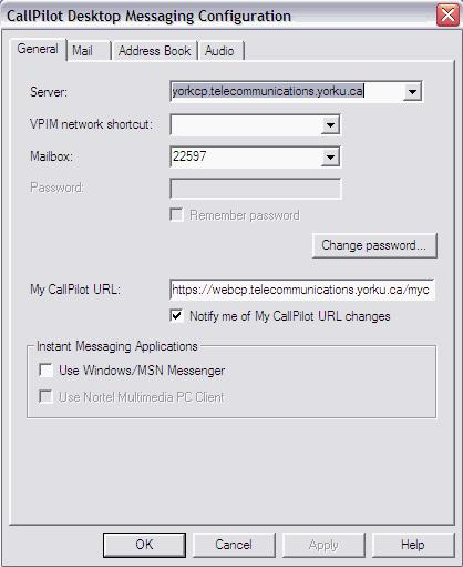 To view or change your mailbox settings: 1 In your Lotus Notes inbox, on the Actions menu, click CallPilot Desktop Messaging 2 Select CallPilot Configuration
