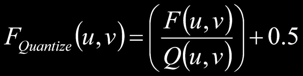 The algorithm takes a value from the Frequency matrix (F) and divides it by its corresponding value in the Quantization matrix (Q).