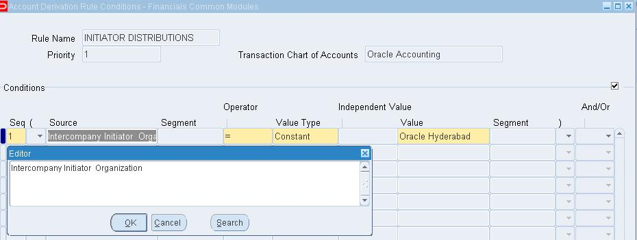 Enter the Rule code and Rule Name Select the Recipient Ledger s Chart of Account in Transaction and Accounting Chart of Accounts fields. In this example, it is selected as Oracle Accounting.