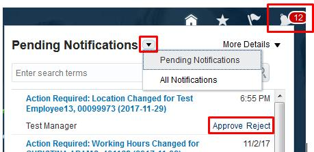 5. Apprve Pending Request HRCnnect Bell 1. Anther way t receive a ntificatin is thrugh the Bell icn within HRCnnect. Click the Bell icn lcated in the tlbar at the tp f the page after yu lgin.