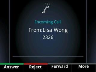 Call colour indicates status: Dark green Active call Bright blue Incoming call Dark blue Held call Use the up and down arrow keys to highlight a call.