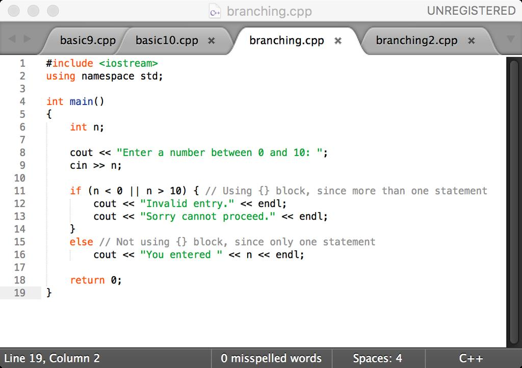Branching: if-else if (<Boolean expression>) <statement>; else <statement>; if