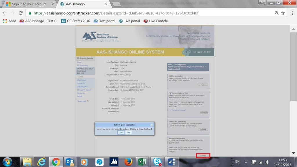 Yu are nw redirected t the applicatin Details page.