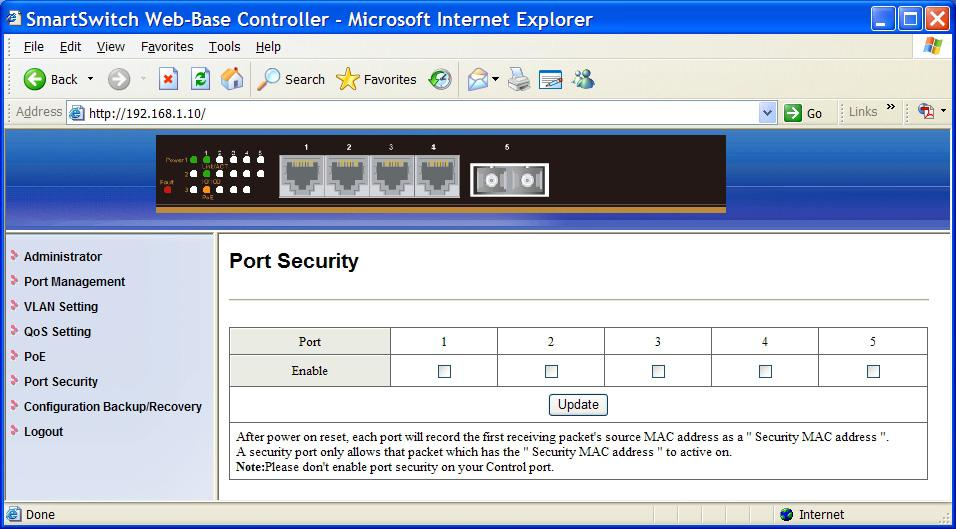 Port Security 1. Port: Click the Enable check box to enable Port Security for each port.