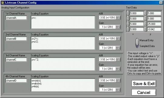 Figure 3-13. LJstream Channel Configuration 3.7 - LJtest LJtest runs a sequence of tests on the LabJack itself.