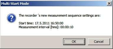 If the user wants to program several recorders with the same sampling interval and start time, it is recommended to select Multi mode.