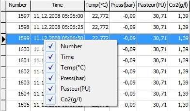 For example, when working with a chart displaying temperature and pressure recordings, the user can hide the pressure or the temperature line in the graph.