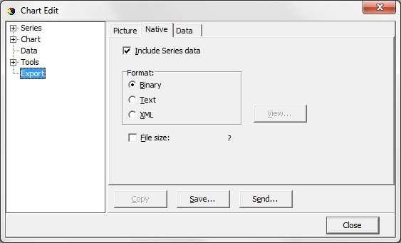 Figure 8.25 shows options when saving the chart as a picture to a file, or copy the picture to the clipboard.