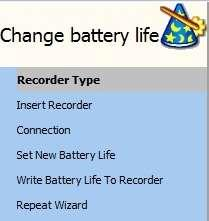 measurement sequence. 13.6 Change Battery Life A new wizard has been added to the Wizards menu, the Change battery life wizard.
