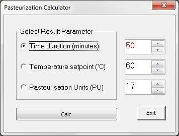 PU-Calc Select PU-Calc and the following window appears: Figure A.2 PU-Calc FoodStar calculates dissolved Co2(g/l) based on temperature ( C) and pressure (Bar).