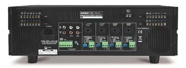 The first Mic input has a selectable priority circuit. In addition, 2 Aux inputs, remotely triggerable chime, siren and telephone paging complete the mix. - Commercial audio amplifier & mixer.