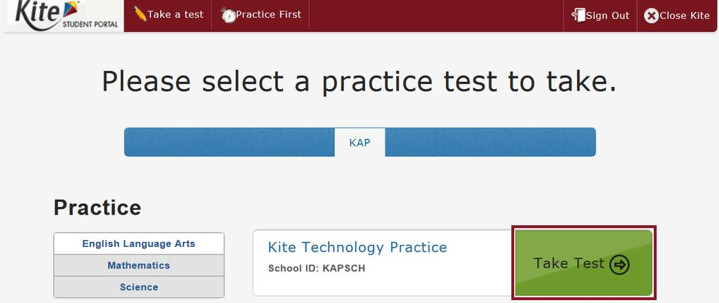 Note: Clicking Practice First leads to practice tests. 2.