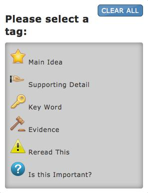 The student can insert multiple tags in a test passage, and each tag