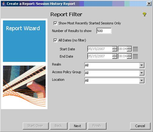 2. On the Report Filter window, choose Show Most Recently Started
