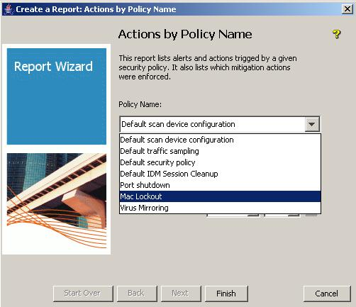 2. In the Actions by Policy name window, choose the Policy for which you
