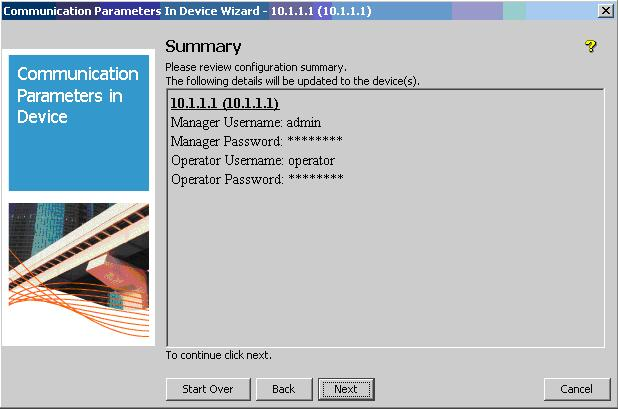 4. In the User Credentials Configuration window, ensure the Mgr Username is set to admin, and the Opr Username is set