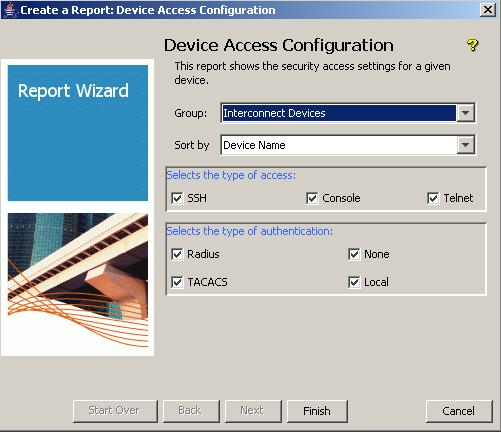 4.3 Create a report on device access security The Device Access Configuration Report shows the security settings for a device or a list of devices.