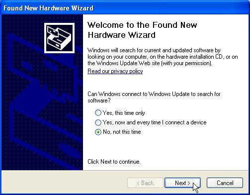 computer. If you are using Windows 98se or ME, please restart the system first before connect this wireless adapter to your computer. 8. The Found New Hardware Wizard pops up.