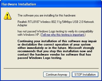 The Windows logo testing warning window