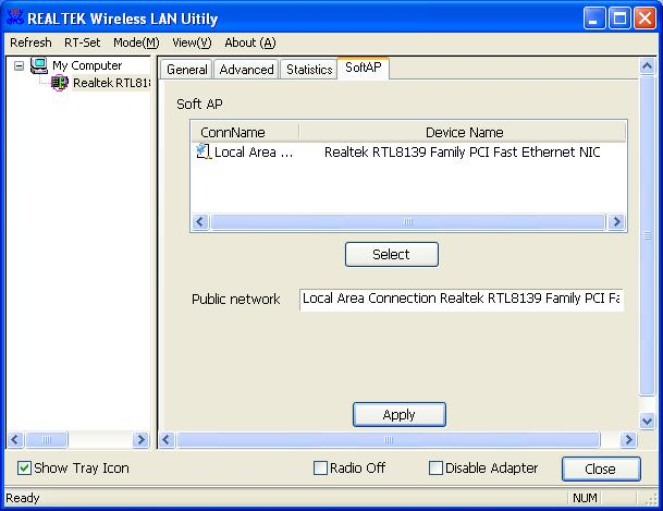 SoftAP This page allows users to select the adapter for connect to public network.