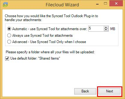 Click the Always use Filecloud for attachments radio button to automatically use Filecloud for all attachments; c.