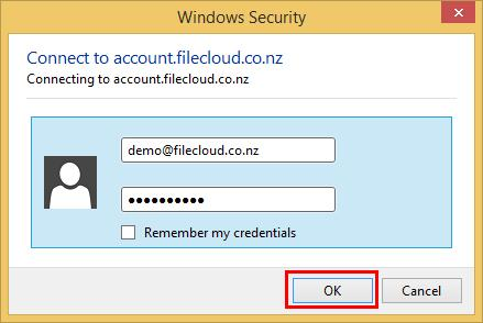 4. Enter your username and password when prompted