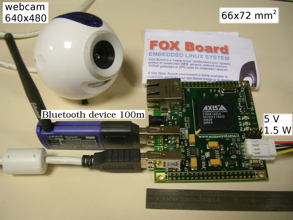 Experimental results Fox card with webcam and bluetooth key