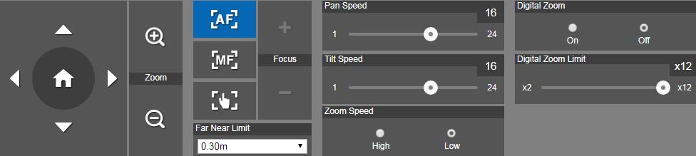 Live View In live view, the user can setup zoom in/out, preset, focus (Auto, Manual, One push, and Focus Near Limit), the speed of zoom, pan-tilt, and preset and view preset.
