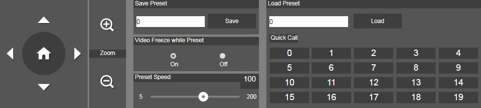 Preset Setup preset position and view preset position. 1. Select the Preset tab in live view interface. 2. Use,,, and to adjust camera view position. 3.
