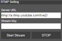 Get the RTMP server URL and stream key from the broadcasting platform and enter in Server URL and Stream key column.